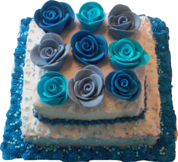 blue, cake, flower, vanilla, layered